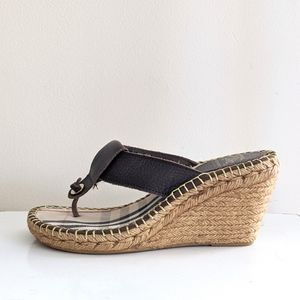 BURBERRY Leather Thong Espadrille Wedge Sandals